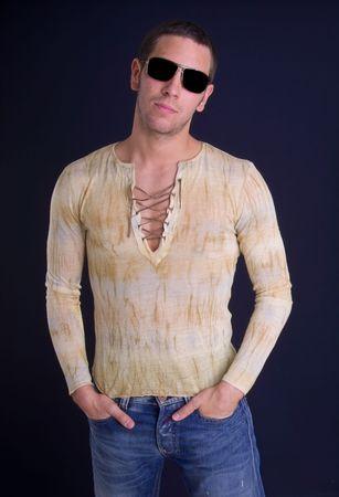 sunglassess: young man wearing dark sunglassess Stock Photo