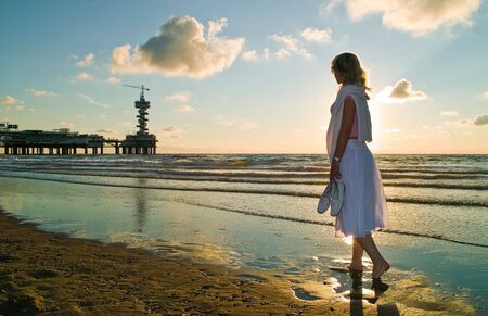 attractive blond girl at the seaside