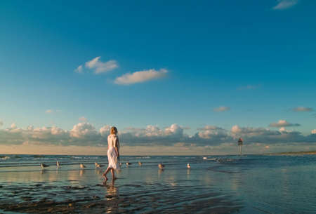 attractive blond girl at the seaside with seagulls Stock Photo - 1328855