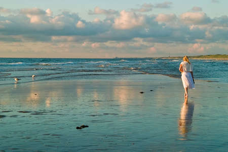 attractive blond girl at the seaside with seagulls