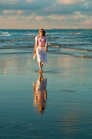 attractive blond girl at the seaside Stock Photo - 1328872