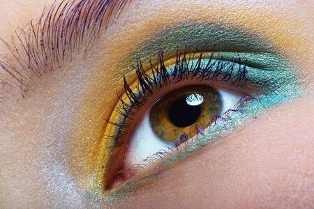 closeup of a bright eye makeup