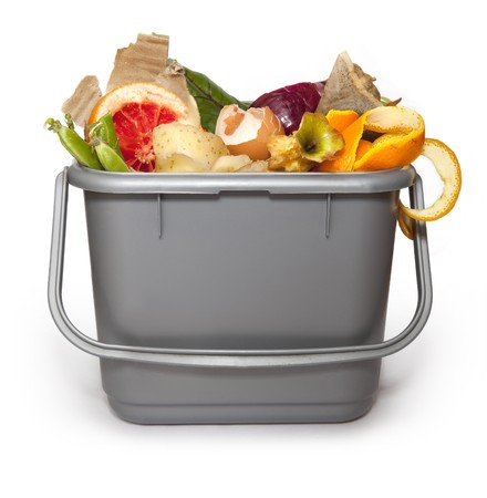composting: Kitchen composting bin Stock Photo