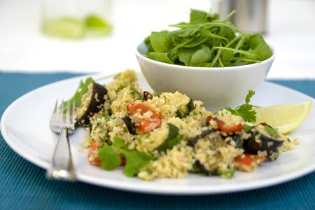 Salad and cous cous with roasted vegetables photo