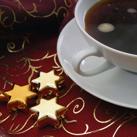 festively: Xmax decoration on a table with a cup of coffee Stock Photo