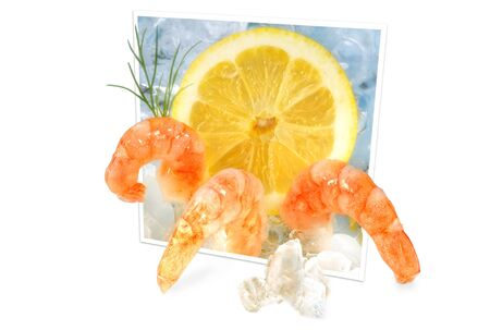 specialities: Shrimps on ice Stock Photo