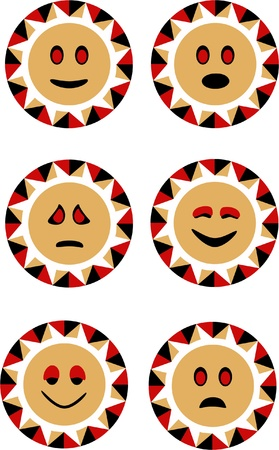 set of vector sun smiley faces Illustration