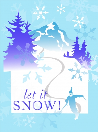 vector snowflake mountain ski winter scene Illustration