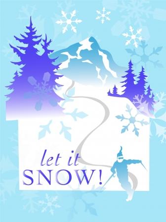 vector snowflake mountain ski winter scene Illustration