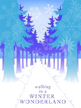 vector snowflake forest path winter scene Stock Vector - 17086338