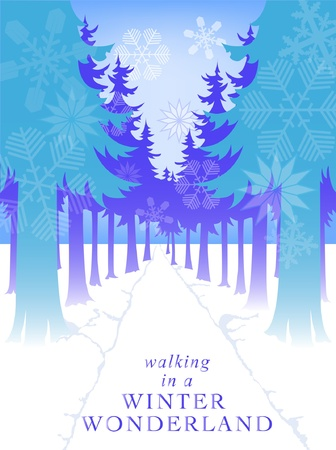evergreen trees: vector snowflake forest path winter scene