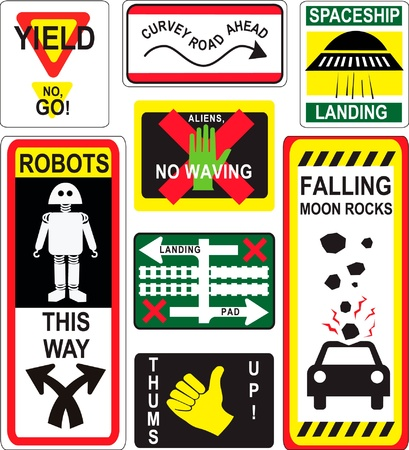 vector set of humorous caution construction safety signs Illustration
