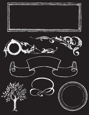 dingbats: set of chalkboard vector design elements - Charkboard 1 Illustration