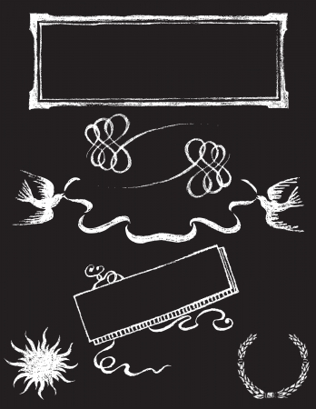 set of chalkboard vector design elements - Charkboard 2 Vector