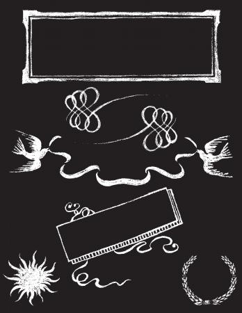 blackboard icon: set of chalkboard vector design elements - Charkboard 2