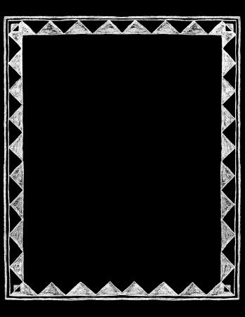 victorian frame: Chalk Board vintage hand drawn rustic Border Frame Illustration