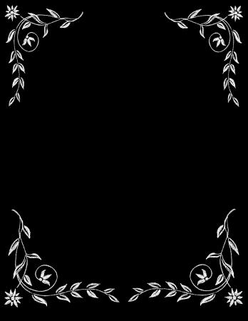 チョーク ボード ヴィンテージ手描き花枠