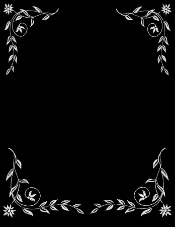 Chalk Board vintage hand drawn Floral Border Frame