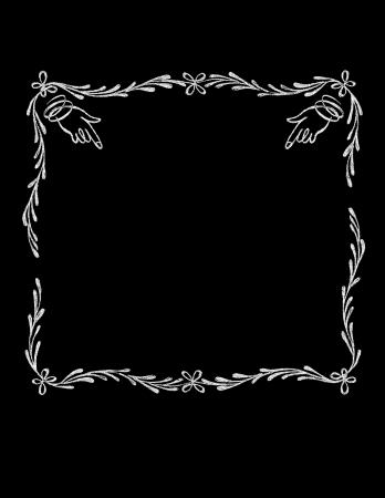 curlicue: Chalk Board Hand drawn Vintage Hands Frame Illustration