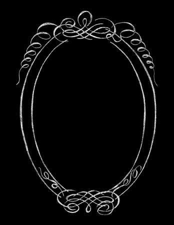Chalk Board Oval Hand drawn Vintage Frame
