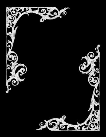 チョーク ボード手描きビンテージ ウエスタン フレーム  イラスト・ベクター素材