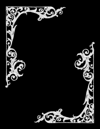 scroll border: Chalk Board Hand drawn Vintage Western Frame