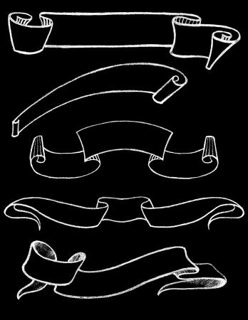 手のセット描画ヴィンテージ黒板リボン 1  イラスト・ベクター素材