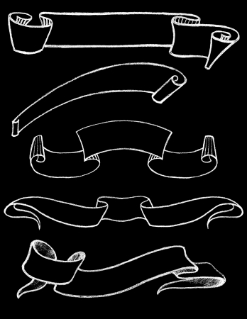 Set of Hand drawn Vintage Chalkboard Ribbons 1 Vector