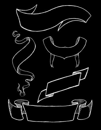 Jeu de main, dessiné Rubans Ardoise vintage 2 Vecteurs