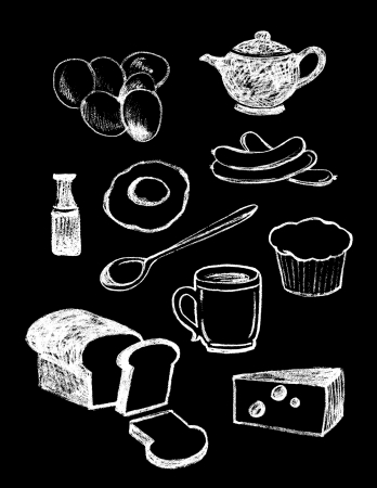 set of hand drawn textured food illustrations in vintage chalkboard style  illustration