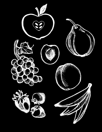 set van de hand getekende textuur voedsel illustraties in vintage krijtbord stijl