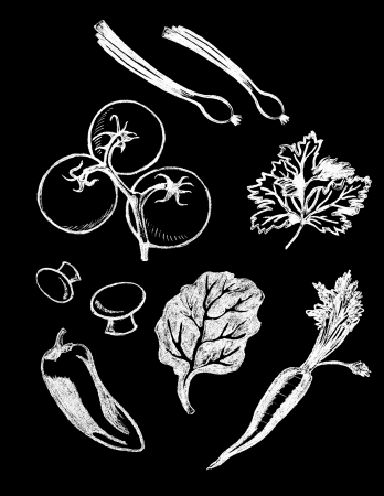 Vector set of hand drawn textured vegetable illustrations in vintage chalkboard style