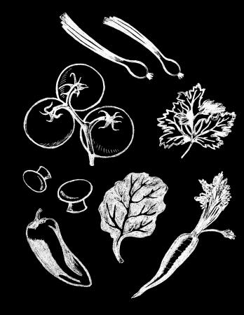 Vector set van de hand getekende getextureerde plantaardige illustraties in vintage krijtbord stijl Stock Illustratie