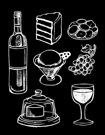 food and wine: vector set of hand drawn textured dessert illustrations in vintage chalkboard style