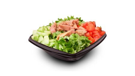 Fresh and delicious tuna salad with fresh cucumber lettuce and tomatoes