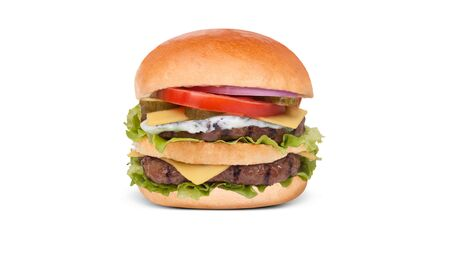 Close up juicy and fresh double hamburger  with tomato fresh lettuce and onions on white background