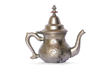 arabic antique old silver teapot isolated on white background