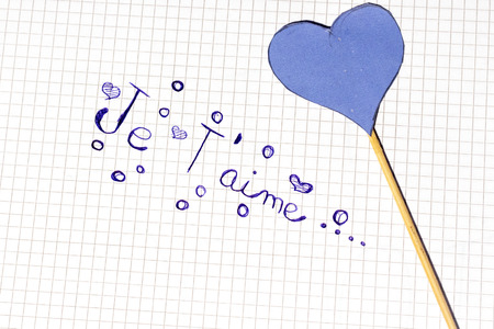 handwriting je taime,i love you o notebook paper