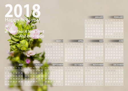 calendar 2018 happy new year with plant background