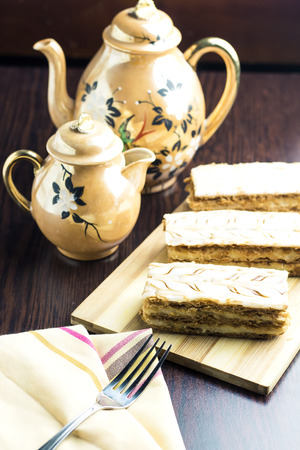 delicious french mille-feuille cake with arabic coffee milk