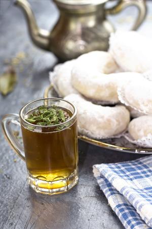 algerian min tea cup with gazelle horns cookies