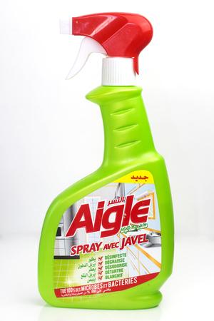 MASCARA, ALGERIA - FEBRUARY 4, 2018 : bottle of AIGLE bleach isolated on white background.  Aigle is an Algerian company