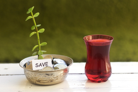 plant growing out of algeria coins in silver bowl ,money saving concept and drinking an arabic tea Stock Photo