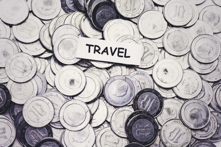 save money concept,tag travel above algeria coin