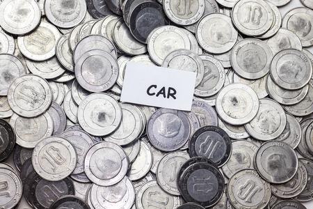 save money concept,tag car  above algeria coin