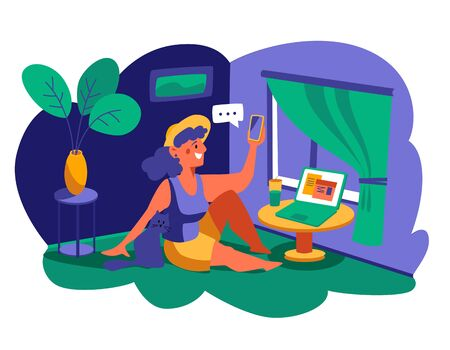 A woman with a cat sits on the floor and talks on the phone. Stay at home, work from home, flowers in a pot, home office. Flat Vector Illustration.