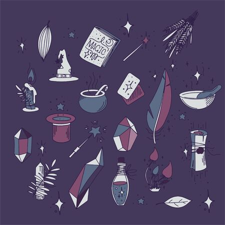 Magic vector set. Magical objects on a purple background. Contains icons such as Magic Hat, Wand, Book of Spells, Effect and more. Vector illustration