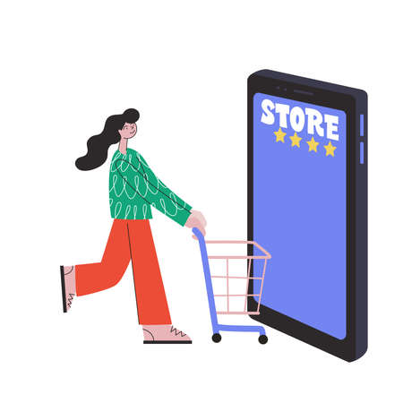 Online Shopping. A girl buys goods without leaving home using a smartphone. Concept vector illustration flat design