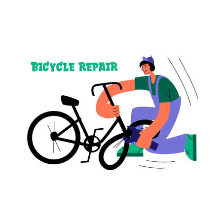 Bicycle repair. The mechanic repairs the bicycle. Vector flat Illustration. Web graphics, banners, advertisements, business templates.