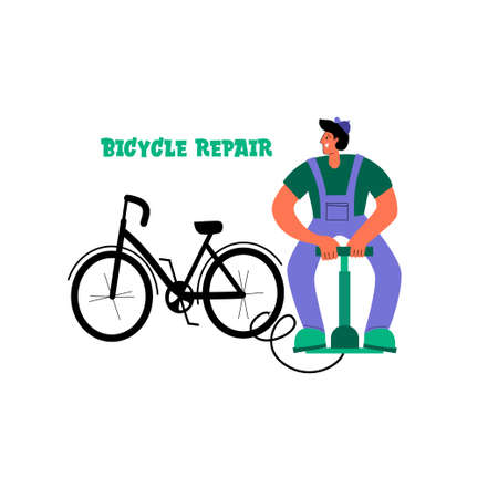 Bicycle repair. The mechanic repairs the bicycle, the mechanic inflates the wheels. Vector flat Illustration. Web graphics, banners, advertisements, business templates.